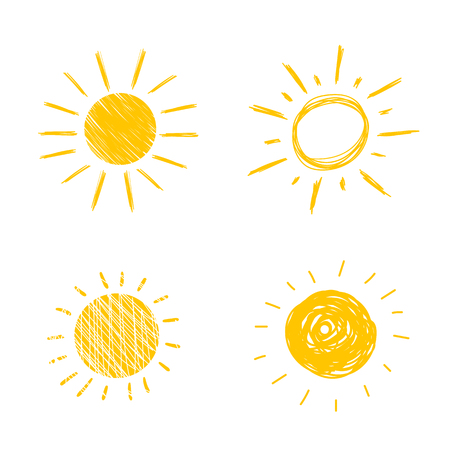 Vector Hand Drawn Sun Icons, Sunny Cute Doodle Set, Isolated on White Background Yellow Drawings. Vectores