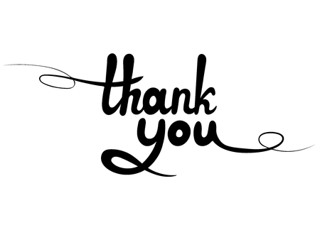 Vector Lettering: Thank You, Black Linear Design Element Isolated on White Background.
