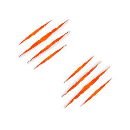 Vector Beast Clows Marks Isolated on White Background, Halloween Orange Colorful Decoration, Fire Color.