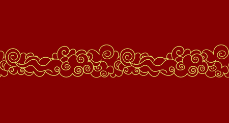Vector Seamless Oriental Clouds, Golden Outline Illustration on Red Background, Luxury Design Element, Border Template. Vectores