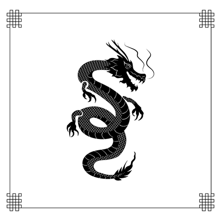 Vector Oriental Dragon, Black Tattoo Style Silhouette on White Background with Traditional Frame. Vectores