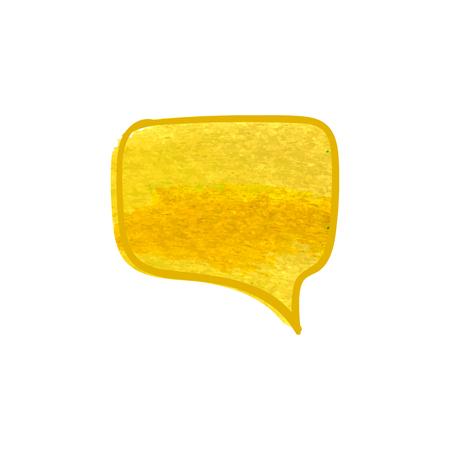 Bulle de conversation dessinée à la main de vecteur, peinture sèche jaune, dessin à la craie isolé sur fond blanc. Vecteurs