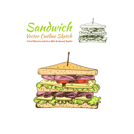Vector Sandwich Colored and Outline Illustrations Isolated on White Background, Fast Food Icons, Sketch Style Drawing.