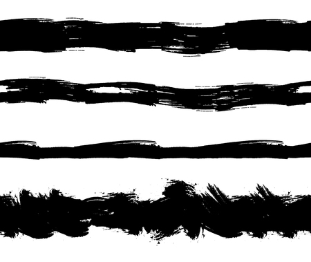 Vector Flat Ink Splatters Seamless Stripes, Grunge Lines Set Isolated on White Background. Illusztráció
