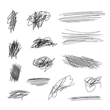 Vector Scribble Lines Set, Black Brush Strokes Isolated on White Background. Ilustración de vector