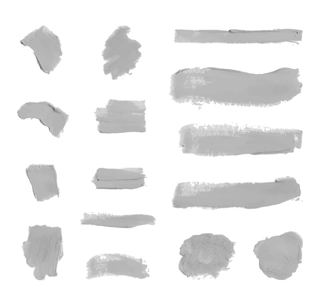 Vector Set of Colorless Gray Paint Smudges, Cosmetics Texture, Design Element Isolated on White Background.