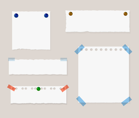 Vector Memo Pinned Papers, Isolated Design Elements Set with Shadows and Realistic Pin Buttons. Иллюстрация