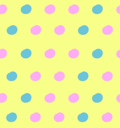 Vector de patrones sin fisuras, lindo fondo, colores pastel amarillo, rosa y azul, telón de fondo colorido. Ilustración de vector
