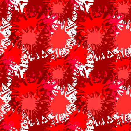 Vector Seamless Pattern, Spooky Halloween Background, Blood Splashes Backdrop.