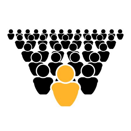 Vector icono de concepto de liderazgo, fuera de la multitud, sea diferente, líder colorido ilustración.