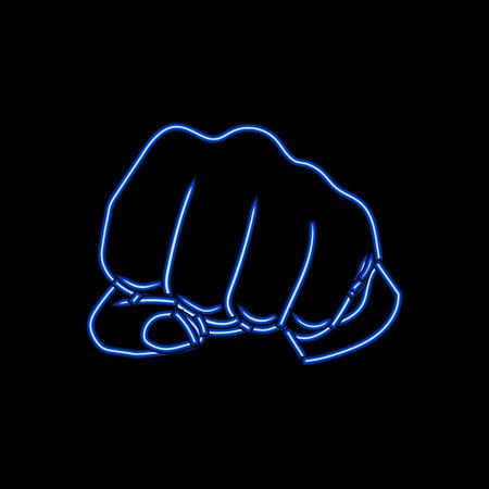Puño de neón vectorial, gesticulación de la mano humana, luz azul brillante sobre fondo oscuro.