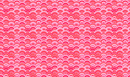 Vector Seamless Pattern, Oriental Background, Sakura Petals Pink Geometric Abstract Shapes.