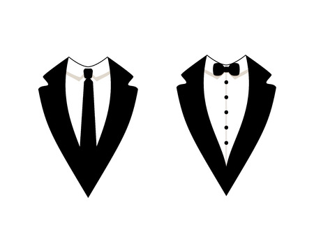Vector Official Dress Icons Isolated on White Background, Men's Jackets.