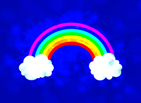 Vector Sky with Rainbow Glowing Illustration, Shining Background, Fantasy Element. Ilustração