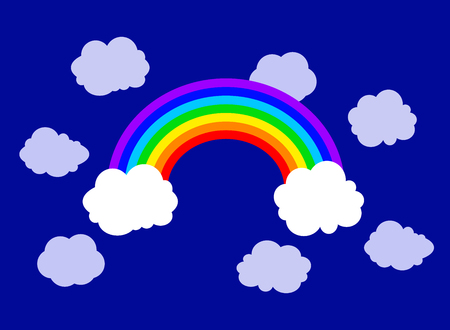 Vector Flat Rainbow and Clouds Illustration, Sky Background, Colorful Image.
