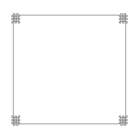 Vector Oriental Frame, Black Border Isolated on White Background, Ornament Template, Blank. 일러스트