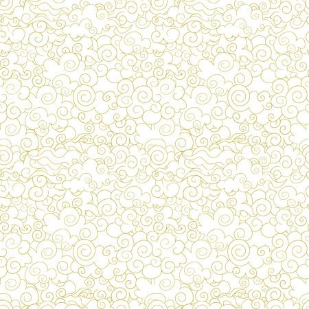 Modèle oriental sans soudure de vecteur, nuages ornementaux, fond abstrait de formes de vague, lignes dorées sur fond blanc. Vecteurs