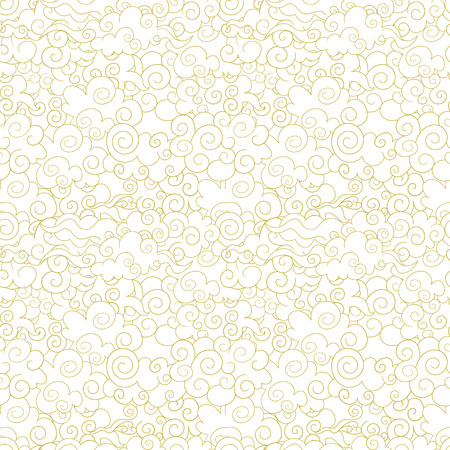 Vector Seamless Oriental Pattern, Ornamental Clouds, Wave Shapes Abstract Background, Golden Lines on White Backdrop.