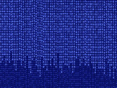 Vector Blue Software Background, Matrix Data Wallpaper, Falling Numbers, Graphic Art. Illustration