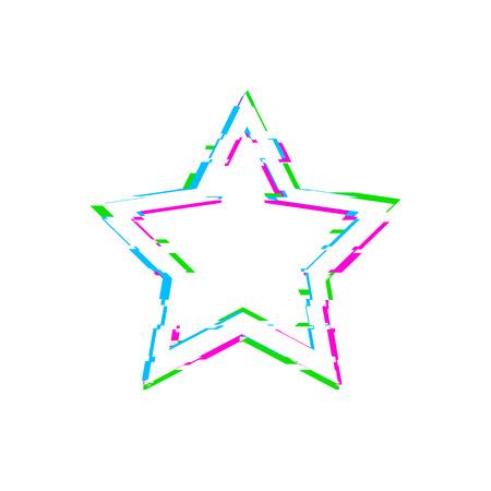 Vector Glitch White Star aislado sobre fondo blanco, azul, rosa y verde, plantilla de elemento de diseño.