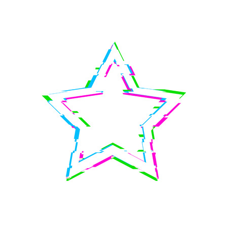 Vector Glitch White Star Isolated on White Background, Blue, Pink and Green Glitches, Design Element Template.