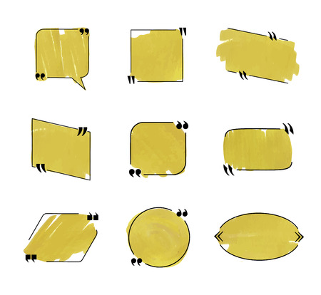 Vector Speech Bubbles Collection, Black Lines and Golden Marker Coloring, Frames Set Isolated on White Background.
