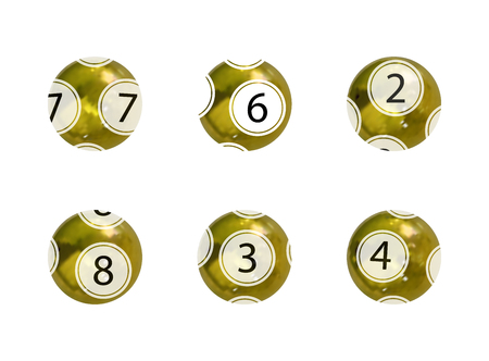 Vector Set of Golden Lottery Balls, Realistic Shiny Balls Isolated on White Backgrond, Gambling Game Concept.