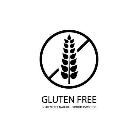 Vector Gluten Free Icon, Stamp Style Label, Black and White Illustration.