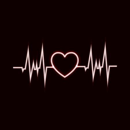 Vector Hearbeat Glowing Icon, Neon Pulsation, Black and White Glowing Illustration.