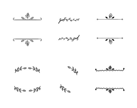 Vector Set of Doodle Floral Frames, Vignettes, Black Lines Isolated on White Background, Decorative Elements.