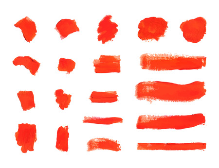 Vector Brush Strokes, Textured Red Paint Smears Isolated on White Background, Design Elements Set.