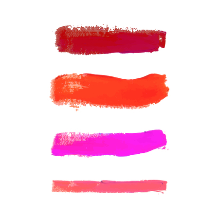 Vector Set of Smudged Lipsticks Isolated on White Background.