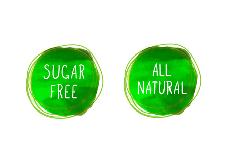 Vector Icons: All Natural and Sugar Free, Healthy Products Concept, Drawn Green Circles on White Background.