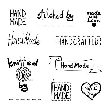 Vektorsatz gezeichneter Entwurfselemente, handgemachtes Thema, schwarze lineare Symbole lokalisiert auf weißem Hintergrund. Vektorgrafik