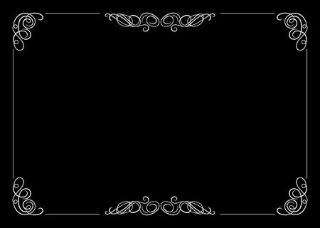 Cornice in filigrana vettoriale, elemento di design calligrafico, stile vintage vecchio film. Vettoriali