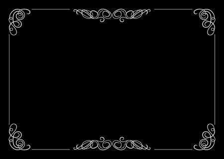 Vector Filigree Frame, Calligraphic Design Element, Old Movie Vintage Style. Çizim