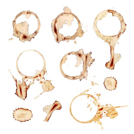 Vector conjunto de salpicaduras de café, elementos de diseño aislados sobre fondo blanco, impresiones de tazas.