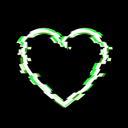 Vector Heart, Glitch Effect, Isolated on Black Background Illustration.