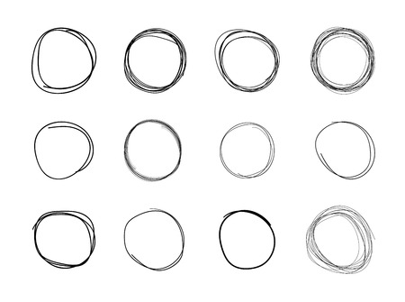 Vector Hand Drawn Circles, Black Blank Round Shapes Isolated on White Background, Drawings Set.