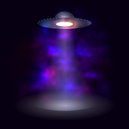 Vaisseau spatial de vecteur, brouillard brillant abstrait, extraterrestres, fond brillant.
