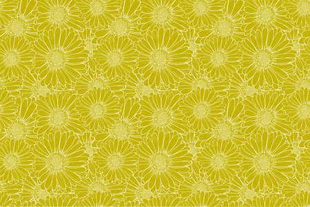 Vector Colorful Bright Yellow Floral Background, Open-work Flowers, Vintage Backdrop. Ilustracje wektorowe