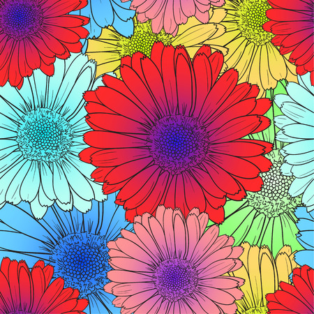 Vector Seamless Pattern: Bright Colored Flowers, Red, Blue Flower Blooms, Colorful Illustration.
