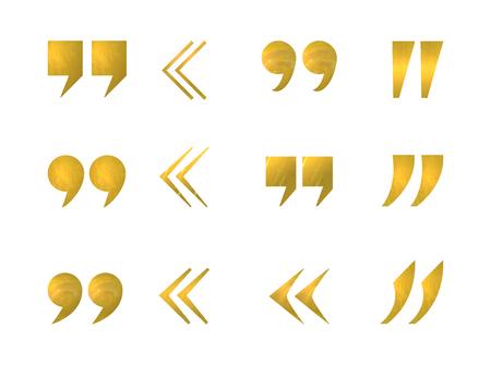 Vector conjunto de comillas de oro aisladas sobre fondo blanco, colección de iconos. Ilustración de vector