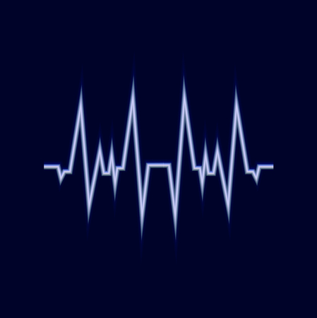 Vector Glowing Amplitude Line, Pulse Neon Icon, Dark Blue Background and White Signal.