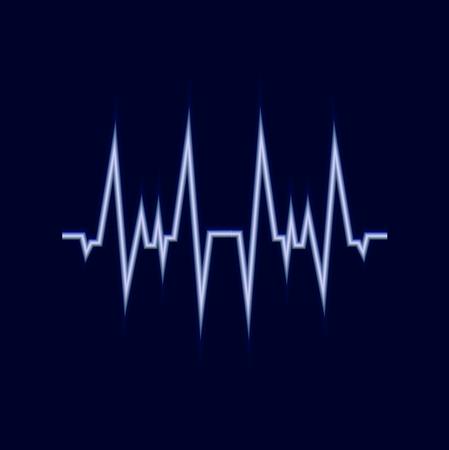 Línea de amplitud brillante de vector, icono de neón de pulso, fondo azul oscuro y señal blanca.