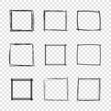 Vector Hand Drawn Scribble Square Frames su sfondo trasparente, insieme di elementi di Design.