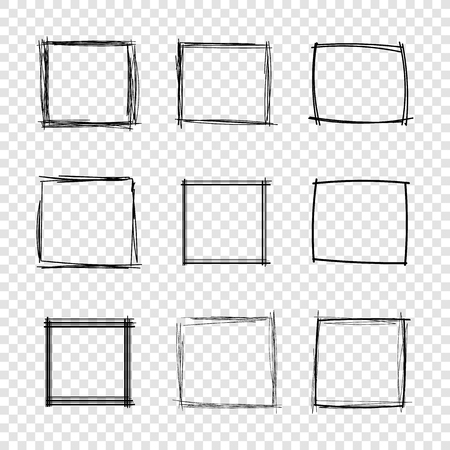 Vector mano dibujada garabatos cuadrados marcos sobre fondo transparente, conjunto de elementos de diseño.