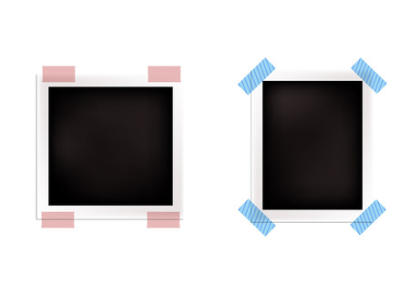 Vector Retro Realistic Photo Frames Isolated on White Background, Blank Borders. Stockfoto - 108439488