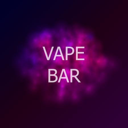 Vector Vape Bar Logo Illustration, Abstract Colorful Smoke and Text.