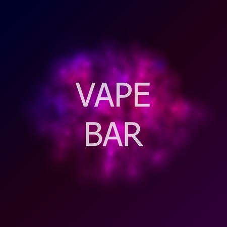 Vector Vape Bar Logo Ilustración, humo colorido abstracto y texto.